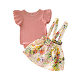 2019 Children Clothes Girl Dress Suits For Girls Kids Bodysuit+Floral Overalls Skirts Toddler Girls Clothing Sets 1 2 3 Years