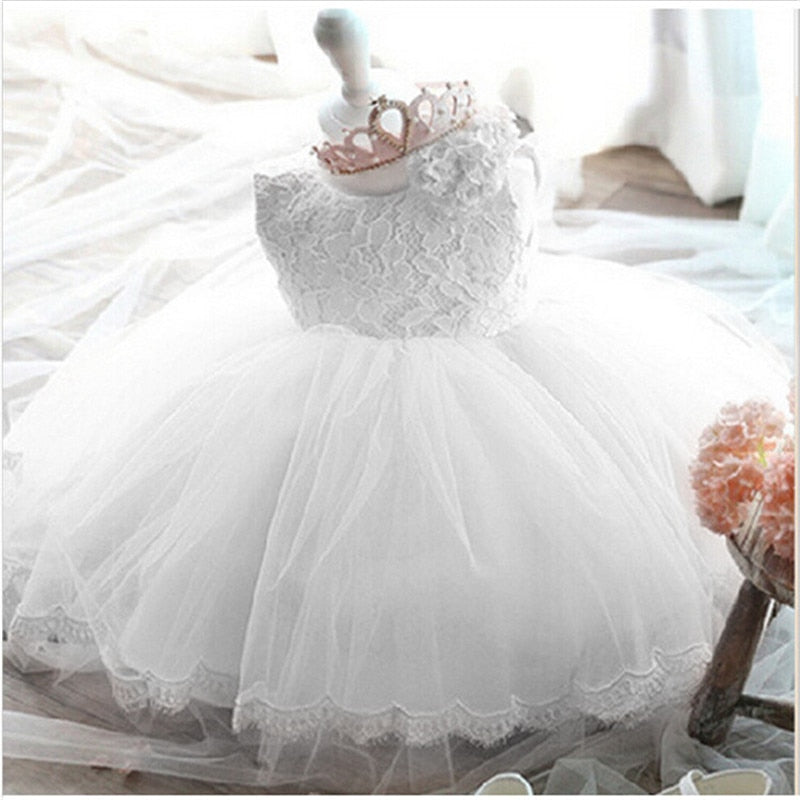 2019 Infant Baby Girls Flower Dresses Christening Gowns Newborn Babies Baptism Clothes Princess tutu Birthday White Bow Dress