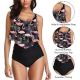 2019 New Sexy Women Bikini Set Mujer Ruffle Floral Printed Swimsuit Push Up High Waist Bikini Biquinis Brazilian Swimwear Summer
