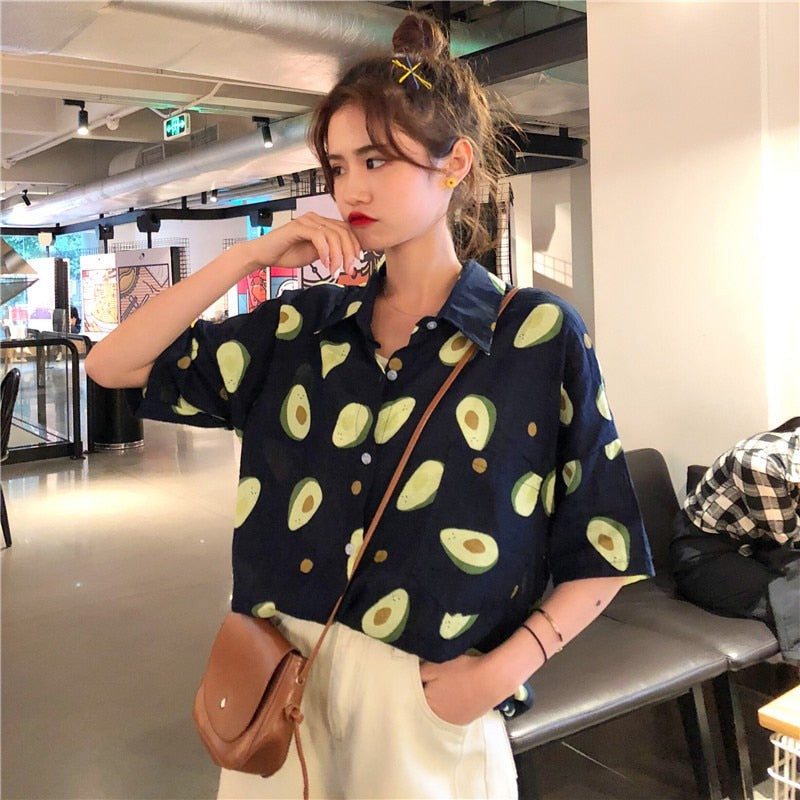 2019 Summer Short Sleeve Turn Down Collar Women Shirt Korean Fruit Print Shirts Women Blouses Couple Casual Loose Blouse Blusas