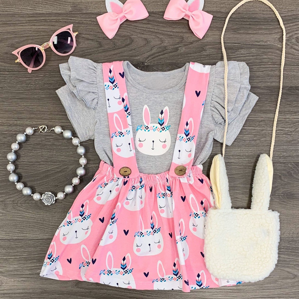 2020 Fashion Girls Clothes Set Summer Toddler Baby Kids Girls Cute Easter Rabbit Bunny Tops Print Skirt Casual Set Ropa Nina