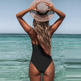 2020 New Vintage One Piece Swimsuit Women Swimwear Deep V Neck Low Back Swimsuit Bikini Push Up Bathing Plus Size Beachwear