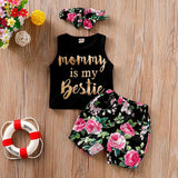 3Pcs Summer 2020 Girls Clothes Set Toddler Fashion Letter Print Vest+Floral Shorts+Headband Kids Girls Clothing Sets Ropa Nina