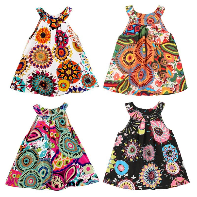 6M 4T Print Vest Baby for Vestido Clothing Outfit Clothes Floral Fashion Dresses Dress Kids Bohemian Infant Girl