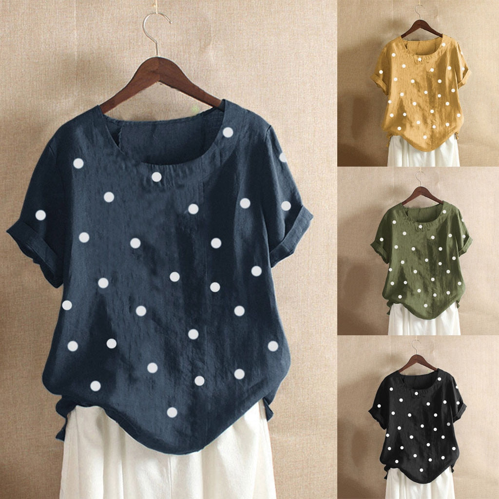 Blouse Women Casual Plus Size O Neck Dot Printed Loose Button Tunic Shirt Blouse Tops Plus Size Basic Blus