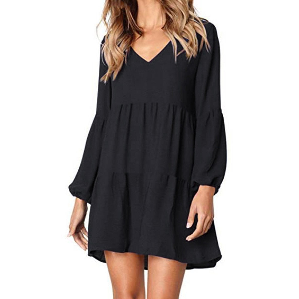 Casual sexy dress Spring Summer 2019 New fashion Women Solid Lantern Long Sleeve party dress V Neck Draped Knee Length Dress