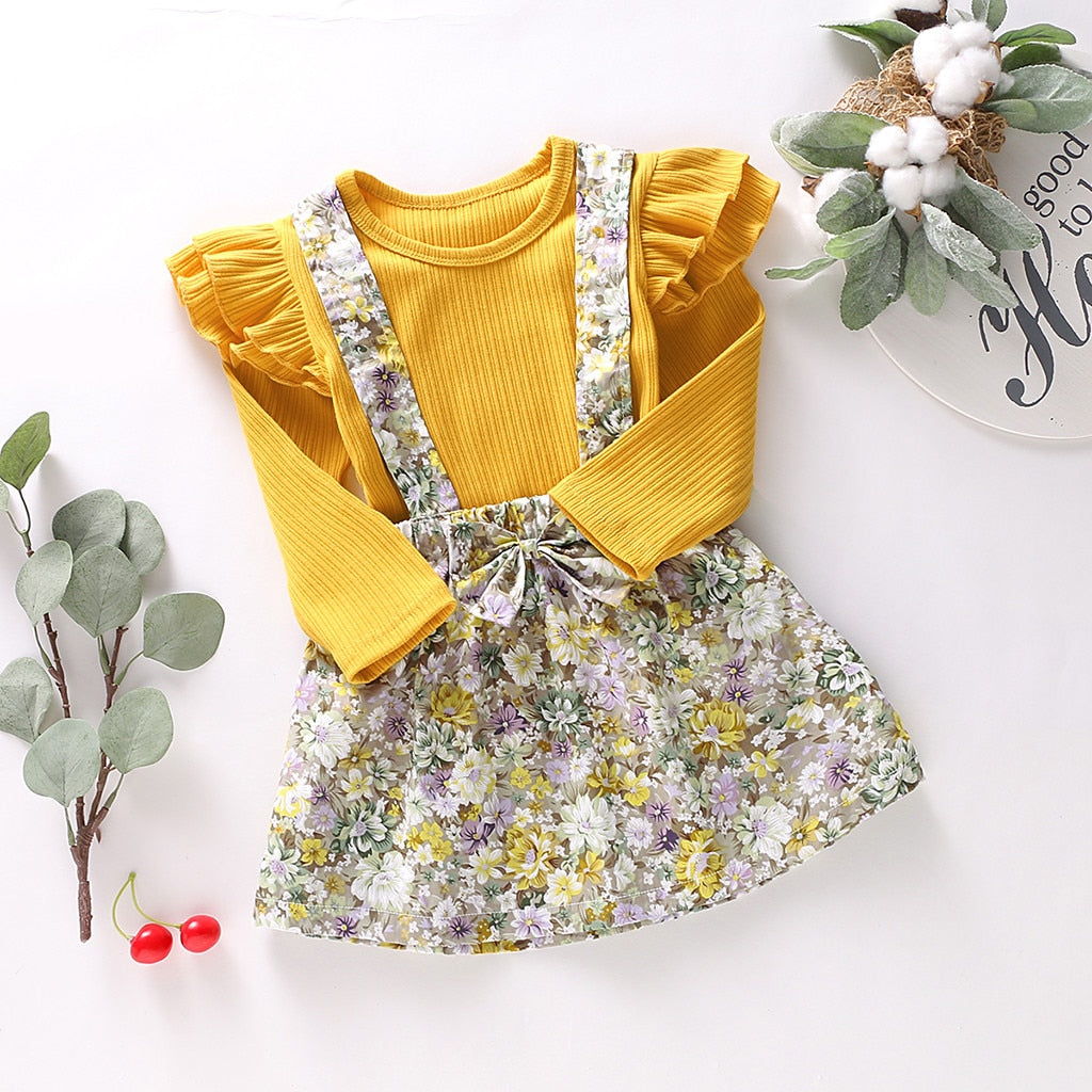 Children Clothing Sets Toddler Baby Girls Long Sleeve Solid Tops+Floral Print Suspender Skirts Girl Outfits Clothes Costume C50#
