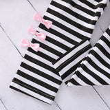 Children Suit Toddler Baby girls Clothes Kids Clothes Long Sleeve Bow T shirt+Stripe Pants Outfits Girls Clothing Dropshipping