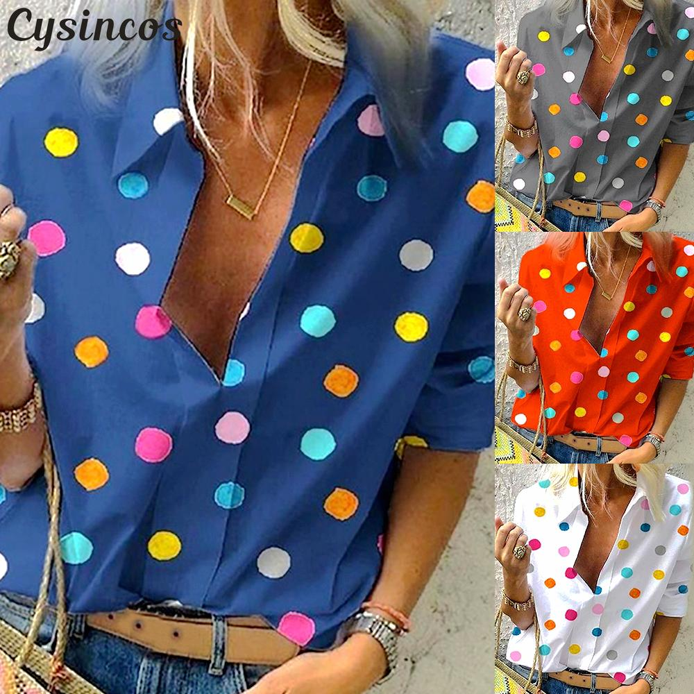 Cysincos Women Blouses 2019 Fashion Long Sleeve Turn Down Collar Shirt Chiffon Office Blouse Slim Casual Tops Plus Size S 5XL