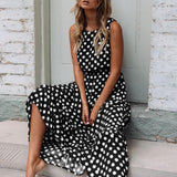 Dress Women Summer 2019 Fashion Boho Style Dot Printing Sleeveless O Neck Long Dress Female Elegant Party Maxi Dress Vestidos