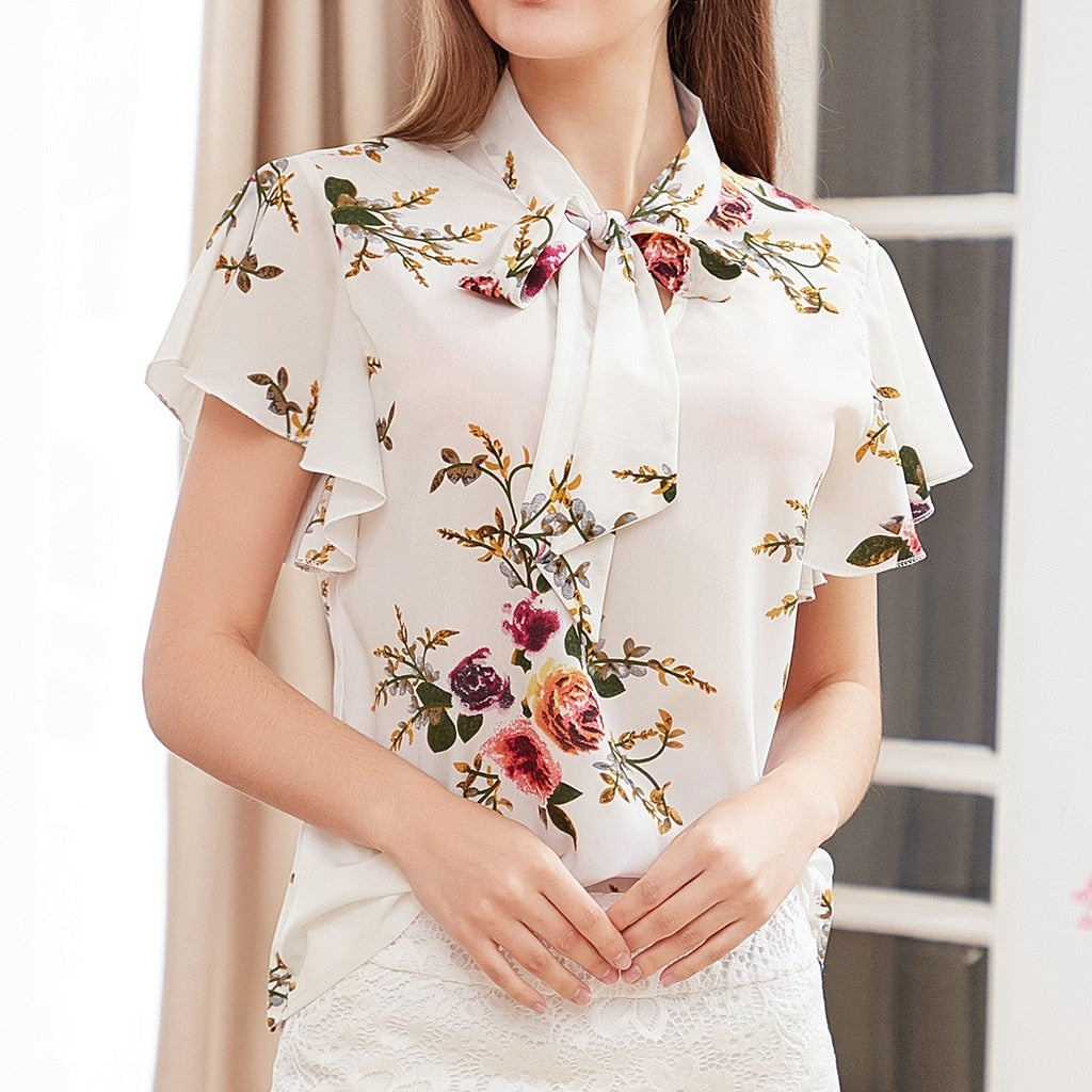Elegant Summer 2019 Bow Tie Office Fashion Casual Tops Blouse Printed Tee Top Female Women's Short Sleeve Shirt Blusas Femininas