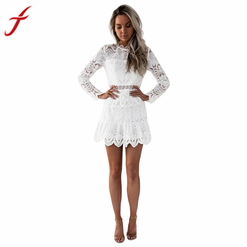 FEITONG Sexy Black Lace Dress 2018 Spring New Arrival Women Lady vestidos Long Sleeve Party Cocktail Mini Dress #S - serenityboutique