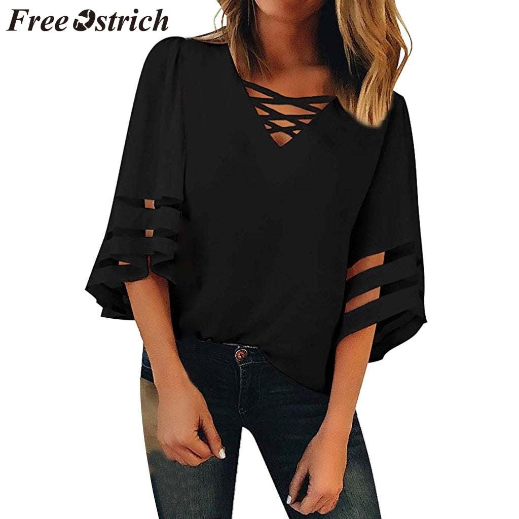 FREE OSTRICH Women Shirts Flare Sleeve Vneck Solid Color Patchwork Half Black Loose Trend Honorable Elegant Summer Blouse Shirts