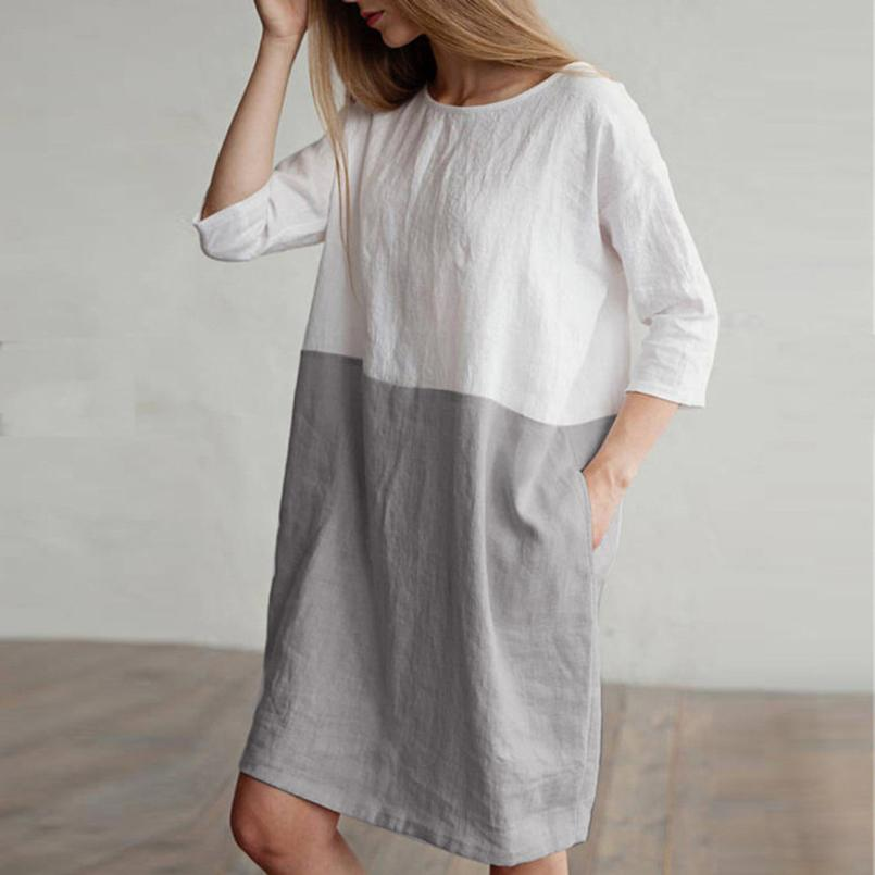 Serenity Boutique dress Women Casual Patchwork 1/2 Sleeved Cotton Linen Dress Oversize Loose Pockets Tunic dress women 2018jul31