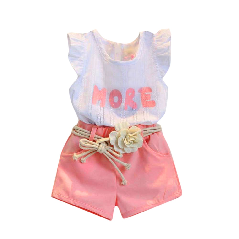 Letter printed shorts flower belt set Toddler Kids Baby Girls Print Sleeveless T Shirt+Shorts+Belt Outfits Clothes Set F4