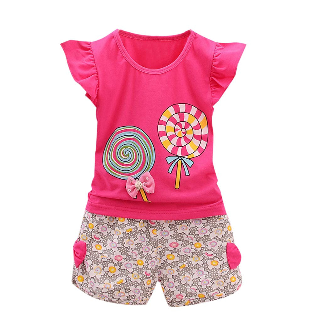 Lollipop Pattern T Shirt Floral Shorts Set 2PCS Toddler Kids Baby Girls Outfits Lolly T shirt Tops+Short Pants Clothes Set F4