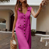 2020 Summer Dress Boho Style V Neck Waist Plus Size Casual Solid Color Sleeveless V Neck Pockets Midi Dress