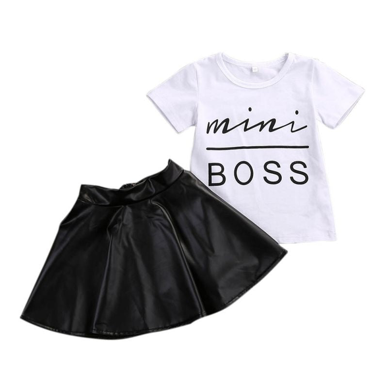 New 2PCS Toddler Kids Girl Clothes Set Summer Short Sleeve Mini Boss T shirt Tops + Leather Skirt Outfit Child Suit New