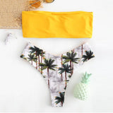 New Swimsuits Beach Bikini 2019 Low Waist Bathing Suit Women Two Pieces Bikinis Push Up Mujer Padded Bandeau Print Off Shoulder
