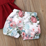 Newborn Baby Girl Clothes Set Toddler Ruffled Tops Flower Floral Print Shorts Summer Infant Baby Girls Infant Clothing Set 2PCs