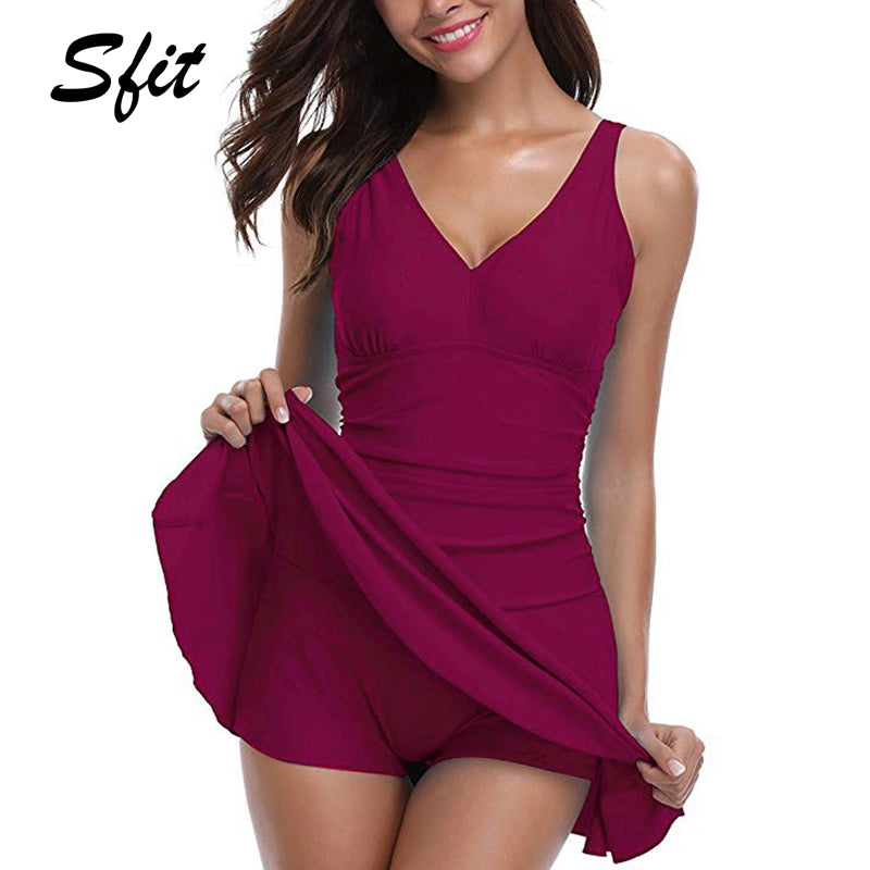 Sfit Women Plus Size Swimwear Tummy Control Swim One Pieces Swimsuit With Flared Skirt Female Bathing Suit Monokini