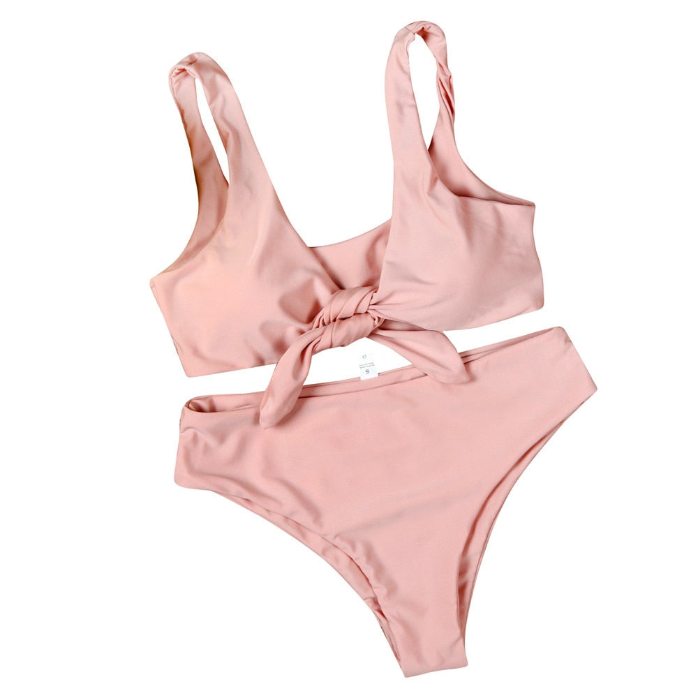 Swimwear Women Pink Solid Swimming Suit For Women Sexy Elegant Tankini Swimsuits Womens Bow Two Piece Swim Suit Womens