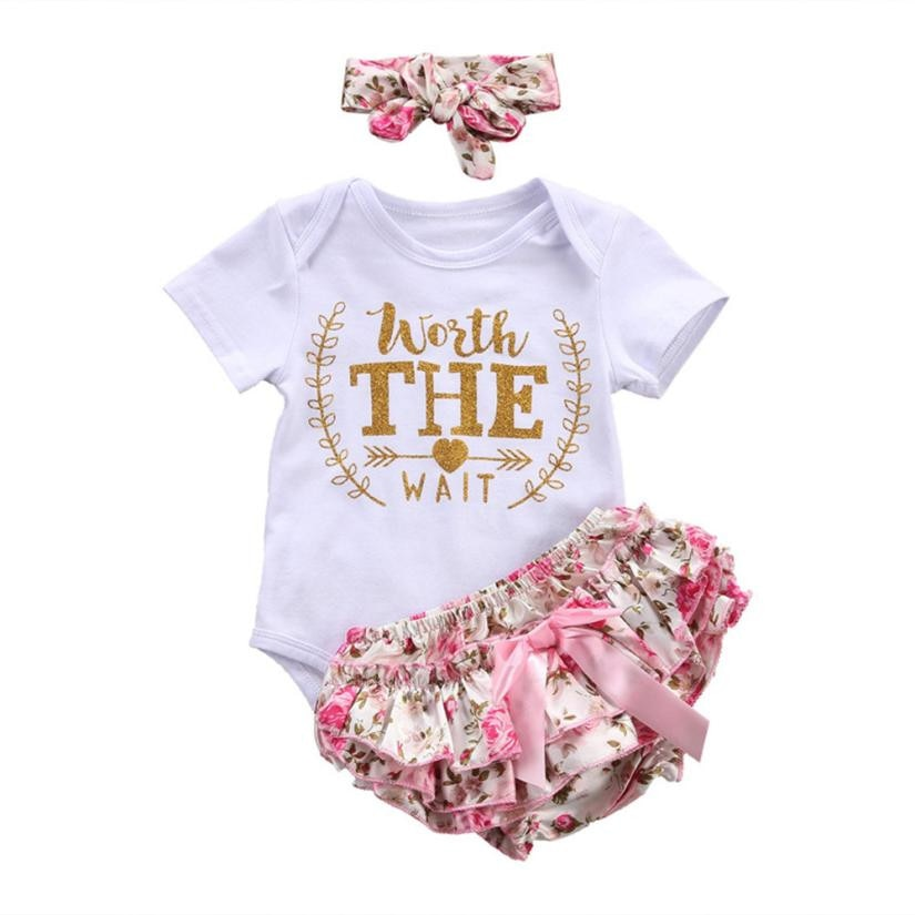 Toddler Girls Summer Clothing Set Letter Floral Romper Shorts Pants Outfits Clothes Set 1PC Romper+1PC Shorts+1PC Headband hot