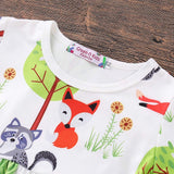 Toddler Infant Baby Girls Cartoon Fox Print Tops Dress Ruched Pants Outfits Set kids clothes fortnight costume children clothes