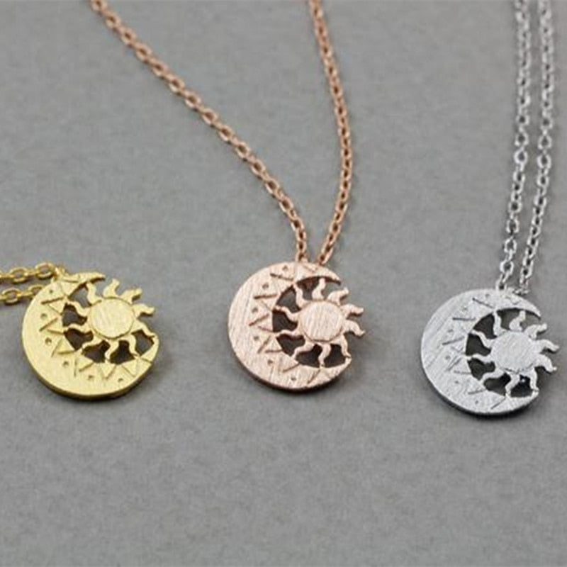 Wiccan Jewelry Moon Necklaces Rose Gold Sun Crescent Necklace Women Stainless Steel Tattoo Choker Bijoux Femme 2019