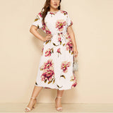Womail L 5XL Women's Casual Dress Plus Size Vestidos O Neck Short Sleeve Flower Print Waist Strap Dress For Ladies JL19 Vestidos