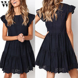Womail dress Summer woman Casual Ruffles Sleeve Ladies O Neck Hollow Out Ruched A Line Dress party fashion Daily NEW 2019 A4