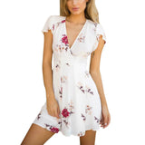Woman's dress Summer Boho Sexy Dress Ladies robe femme Beach Party Sundress Fashion Vintage print Floral V neck Dress vestidos