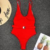 Women Bikini Pure Push Up Padded Bra One Piece Swimwear Swimsuit Cloth Belt Buckle Biquinis Monokin Bodysuit Bathing Suit Summer