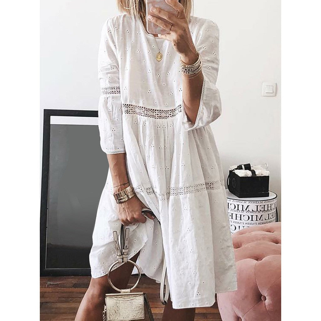 Women Boho Solid Crew Neck Dresses Hollow Out Splice 3/4 Sleeve Mid Long Dresses summer beach dress plus size dress