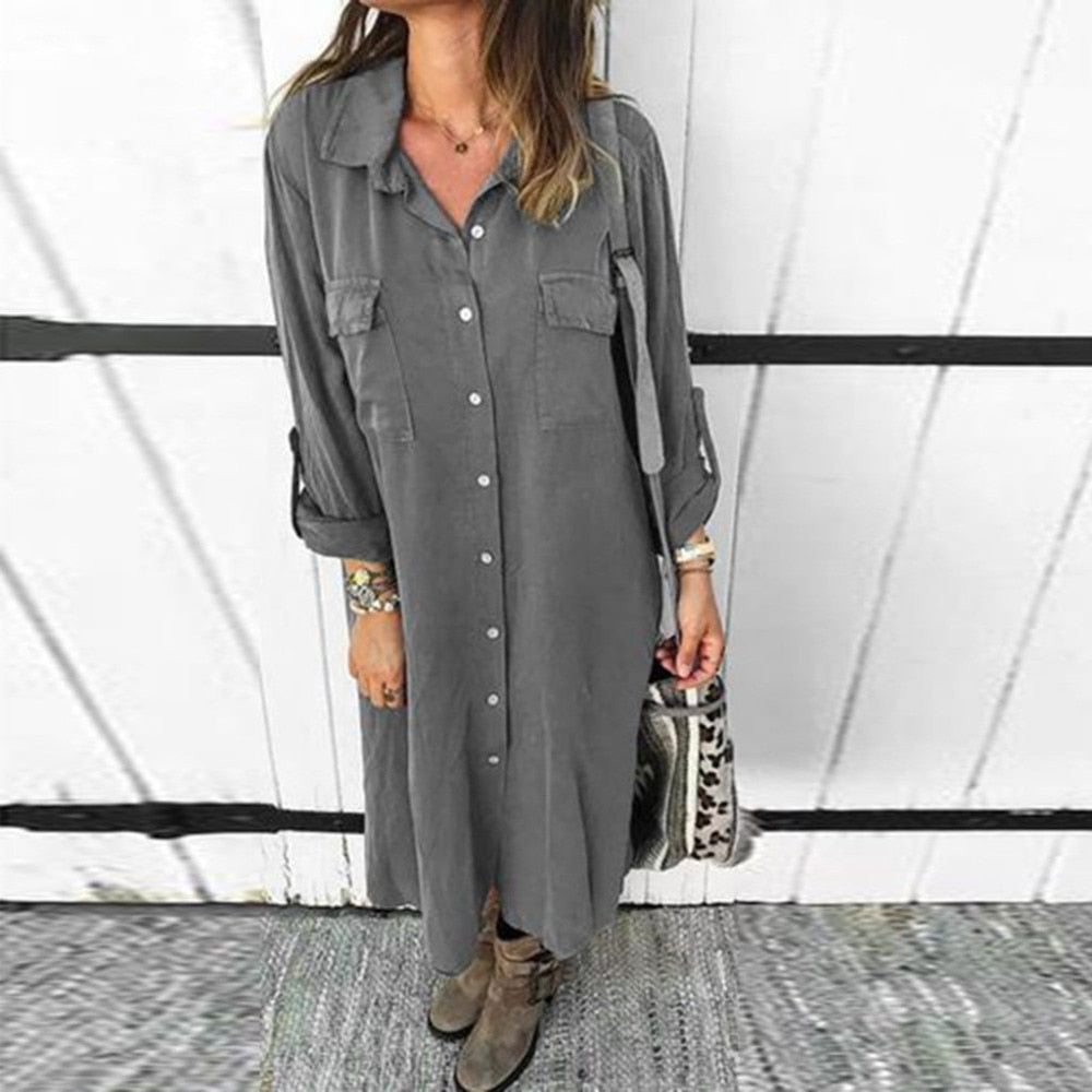 Women Button Knee Length Dress Solid Long Sleeve Dresses Plus size Turn Down Collar Office Ladies Shirt Natural Straight 2020