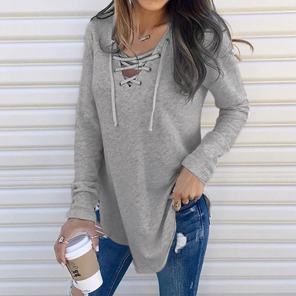 Women's Shirts For Spring Female V Neck Strap Long Sleeve Oversize Fashion Tops Female Elegant Top Autumn Blouse