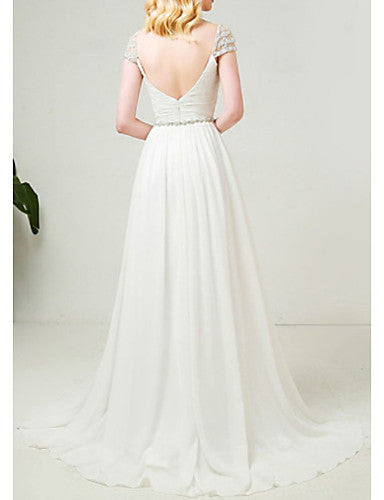 A-Line Sweetheart Neckline Sweep / Brush Train Tulle Cap Sleeve Formal Illusion Detail Made-To-Measure Wedding Dresses with Beading 2020
