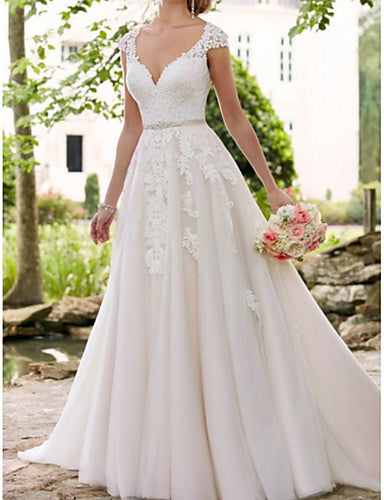 A-Line V Neck Sweep / Brush Train Lace / Tulle Regular Straps Formal / Mordern Illusion Detail Made-To-Measure Wedding Dresses with Appliques / Crystals / Sashes / Ribbons 2020
