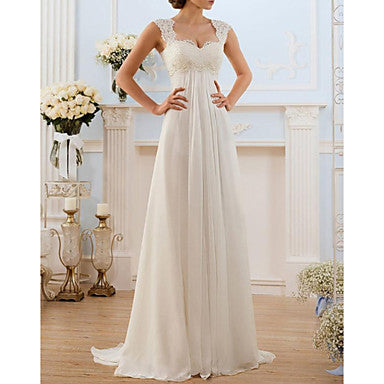 A-Line Sweetheart Neckline Sweep / Brush Train Chiffon / Lace Spaghetti Strap Made-To-Measure Wedding Dresses with Lace Insert 2020