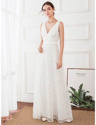 A-Line V Neck Floor Length Polyester / Satin Regular Straps Made-To-Measure Wedding Dresses with 2020