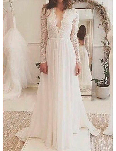 A-Line V Neck Sweep / Brush Train Lace Long Sleeve Made-To-Measure Wedding Dresses with Lace Insert 2020