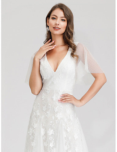 A-Line V Neck Maxi Tulle Short Sleeve Made-To-Measure Wedding Dresses with Lace 2020