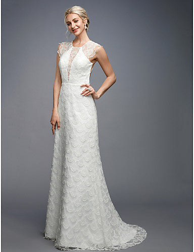 A-Line Jewel Neck Sweep / Brush Train Lace Cap Sleeve Sexy / Beautiful Back Made-To-Measure Wedding Dresses with Appliques / Buttons 2020 / Floral