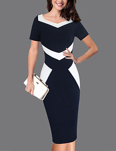 Women's Plus Size Work Slim Sheath Dress - Color Block Blue & White, Patchwork Sweetheart Neckline Spring Black XXXL XXXXL XXXXXL