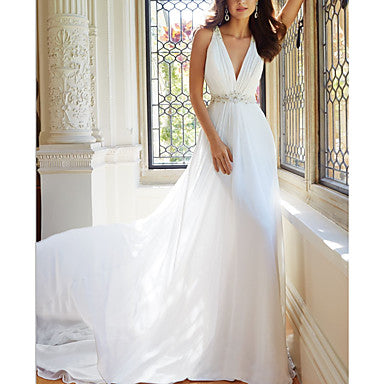 A-Line V Neck Court Train Chiffon Spaghetti Strap Made-To-Measure Wedding Dresses with Lace 2020