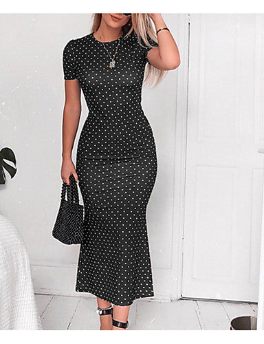 Women's Daily Going out Elegant Maxi Slim Sheath Trumpet / Mermaid Dress - Polka Dot Print Black Pink Light Brown L XL XXL