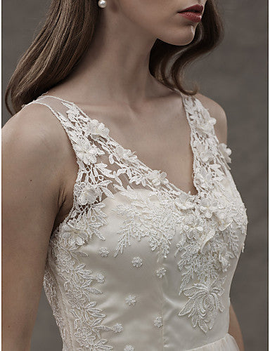 A-Line V Neck Sweep / Brush Train Lace Over Tulle Regular Straps See-Through Made-To-Measure Wedding Dresses with Lace / Sash / Ribbon 2020
