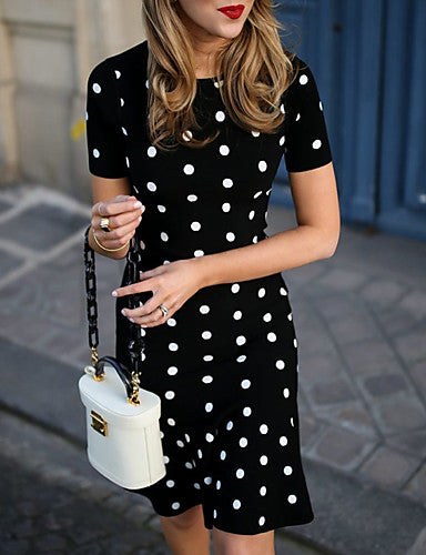 Women's Sheath Dress - Polka Dot Black M L XL XXL