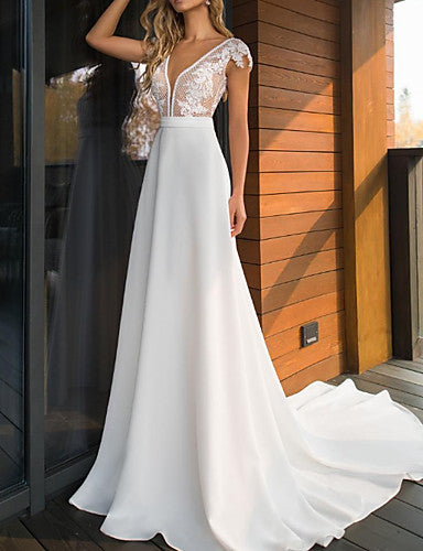 A-Line V Neck Sweep / Brush Train Lace / Charmeuse Cap Sleeve Mordern See-Through Made-To-Measure Wedding Dresses with Appliques 2020