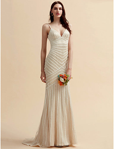 Mermaid / Trumpet V Neck Sweep / Brush Train Lace / Tulle Spaghetti Strap Made-To-Measure Wedding Dresses with Lace 2020